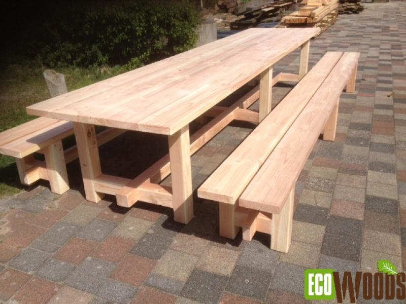 Houten Tafel En Bank.Terrastafel Met Banken De Eese 4 Meter Ecowoods Nl