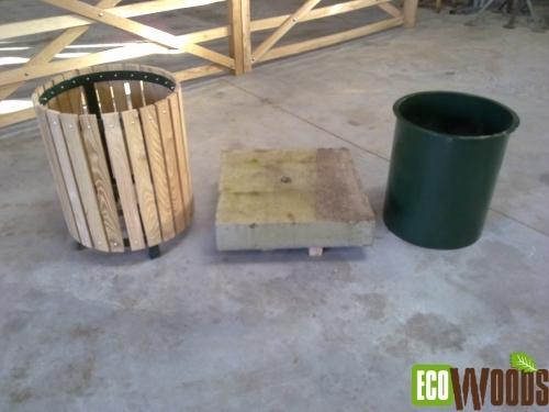 Afvalbak rond met bak drie delen
