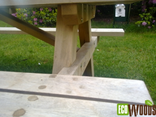 Bos picknickbank eiken detail verbindingen