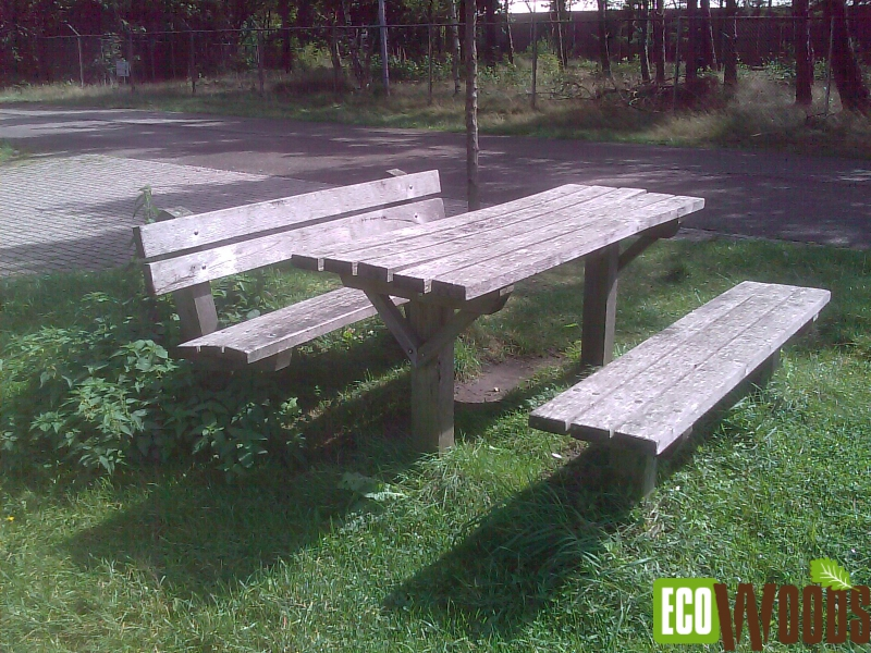 Picknickset tafel met 2 banken recht model