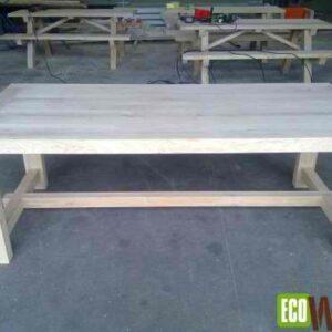 Eiken tafel 220 x 100 x 78 cm zijaanzicht